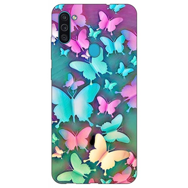 Husa Silicon Soft Upzz Print Samsung Galaxy M11 Colorfull Butterflies imagine itelmobile.ro 2021