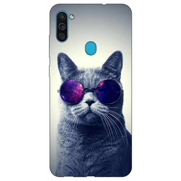 Husa Silicon Soft Upzz Print Samsung Galaxy M11 Cool Cat imagine itelmobile.ro 2021
