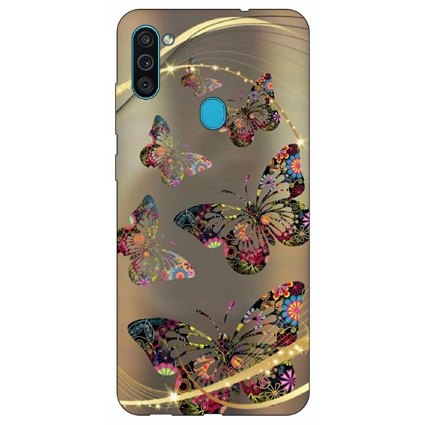 Husa Silicon Soft Upzz Print Samsung Galaxy M11 Golden Butterfly imagine itelmobile.ro 2021