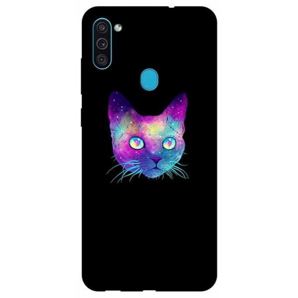 Husa Silicon Soft Upzz Print Samsung Galaxy M11 Neon Cat imagine itelmobile.ro 2021