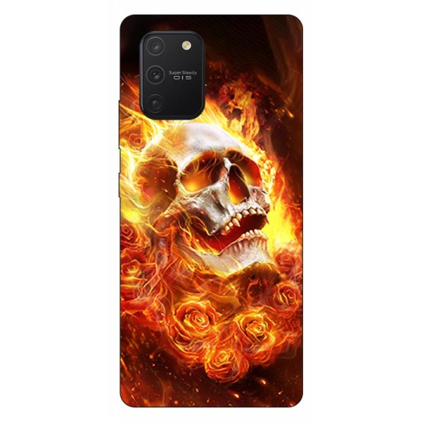 Husa Silicon Soft Upzz Print Samsung Galaxy S10 Lite Model Flame Skull imagine itelmobile.ro 2021