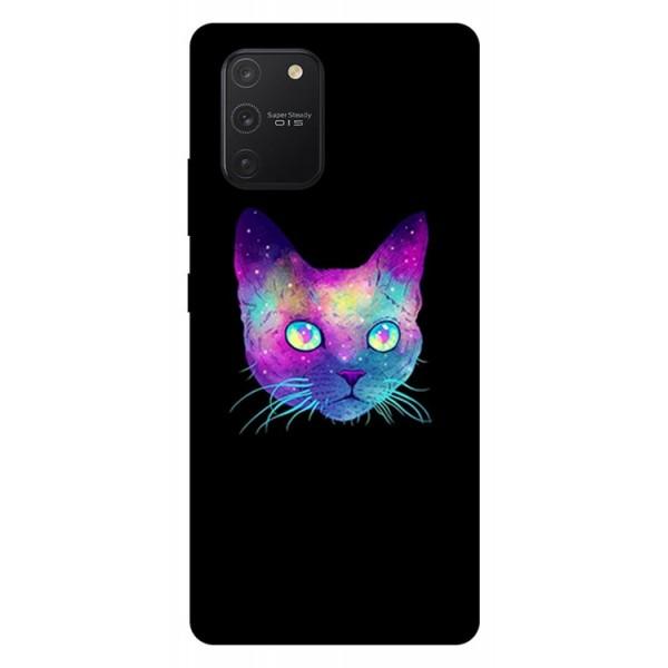 Husa Silicon Soft Upzz Print Samsung Galaxy S10 Lite Model Neon Cat imagine itelmobile.ro 2021
