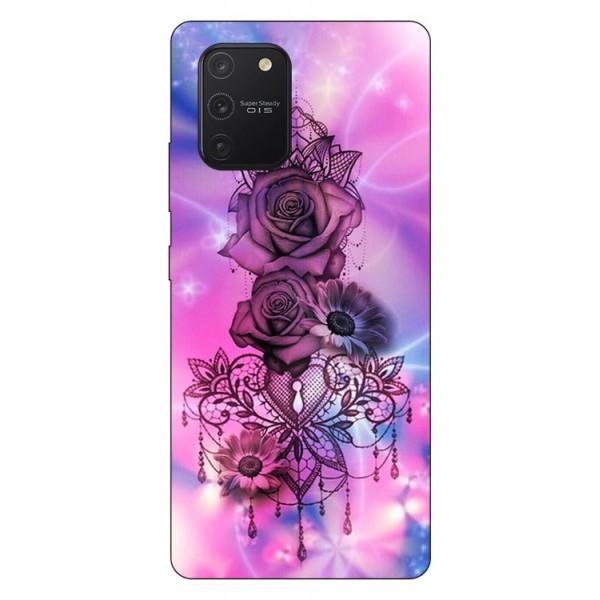 Husa Silicon Soft Upzz Print Samsung Galaxy S10 Lite Model Neon Rose imagine itelmobile.ro 2021