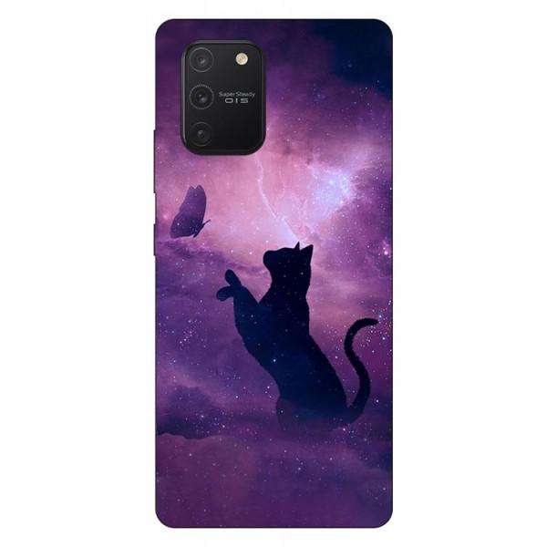 Husa Silicon Soft Upzz Print Samsung Galaxy S10 Lite Model Shadow Cat imagine itelmobile.ro 2021