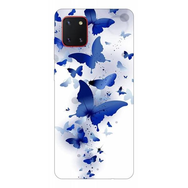 Husa Silicon Soft Upzz Print Samsung Galaxy Note 10 Lite Model Blue Butterflies imagine itelmobile.ro 2021