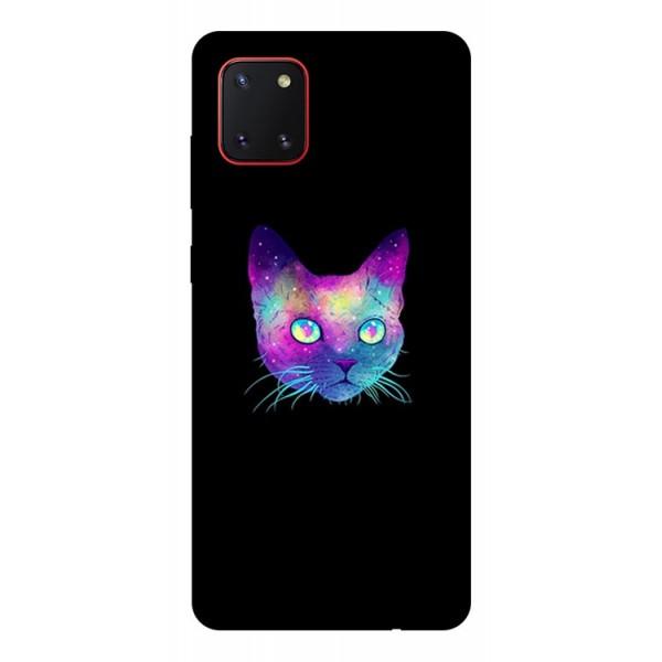 Husa Silicon Soft Upzz Print Samsung Galaxy Note 10 Lite Model Neon Cat imagine itelmobile.ro 2021