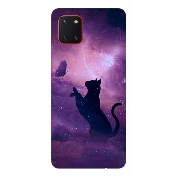 Husa Silicon Soft Upzz Print Samsung Galaxy Note 10 Lite Model Shadow Cat imagine itelmobile.ro 2021