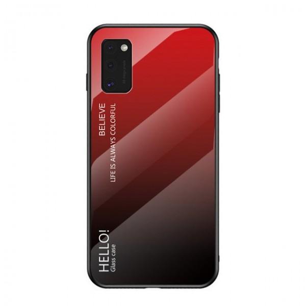Husa Spate Upzz Gradient Glass Pentru Samsung Galaxy A41 ,spate Sticla Rezistenta , Negru -rosu imagine itelmobile.ro 2021