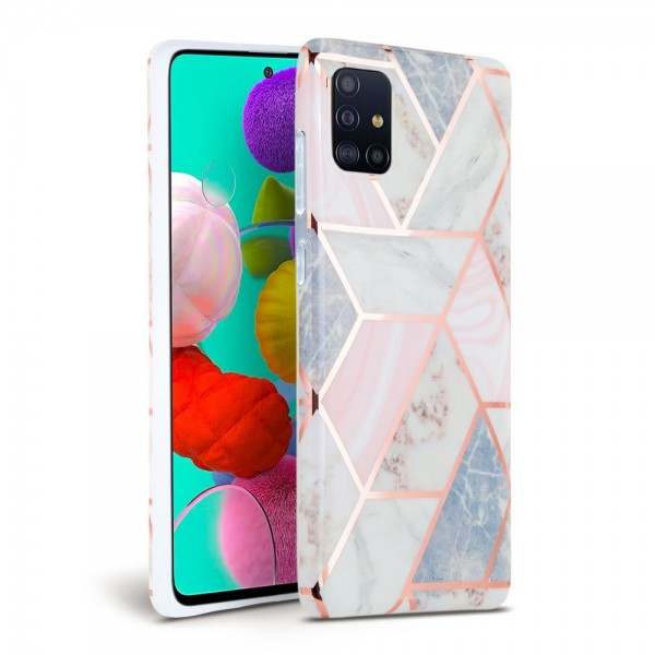 Husa Spate Tech-protect Marble Silicone Samsung Galaxy A41 Roz imagine itelmobile.ro 2021