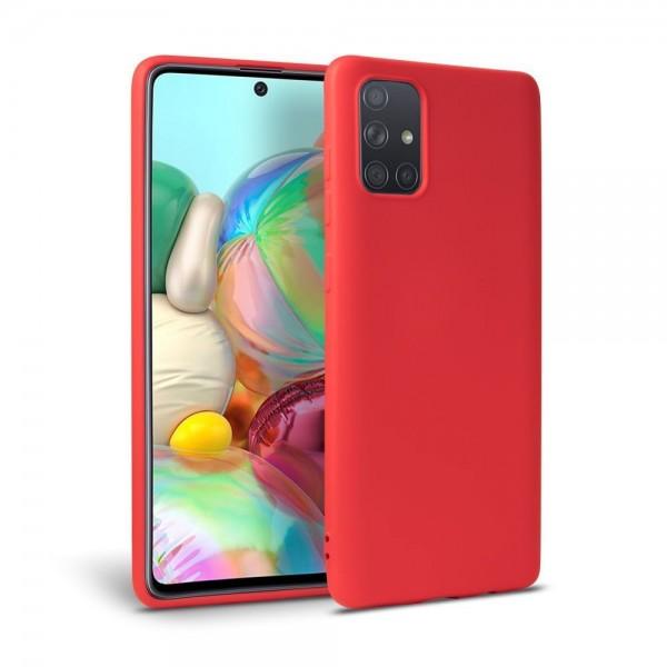 Husa Premium Upzz Liquid Silicon Pentru Samsung Galaxy A31, Cu Invelis Alcantara La Interior , Rosu imagine itelmobile.ro 2021