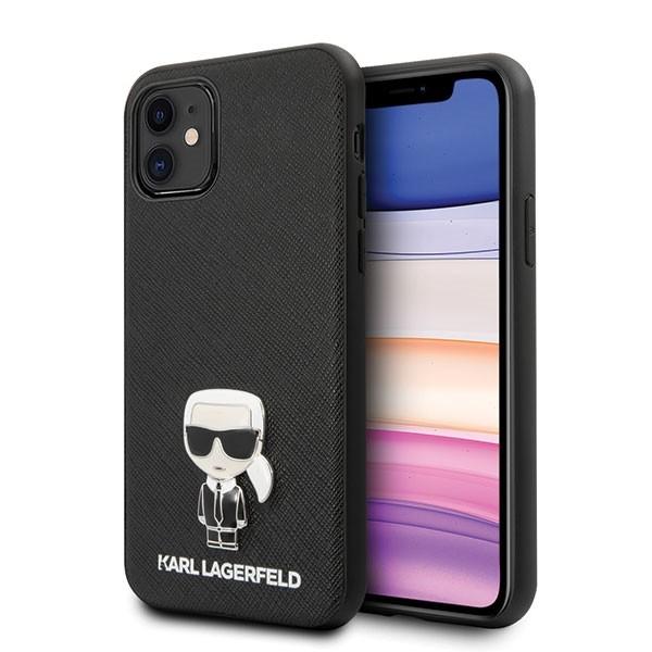 Husa Premium Originala Karl Lagerfeld Klhcn61ikfbmbk iPhone 11 Saffiano Ikonik - Negru imagine itelmobile.ro 2021