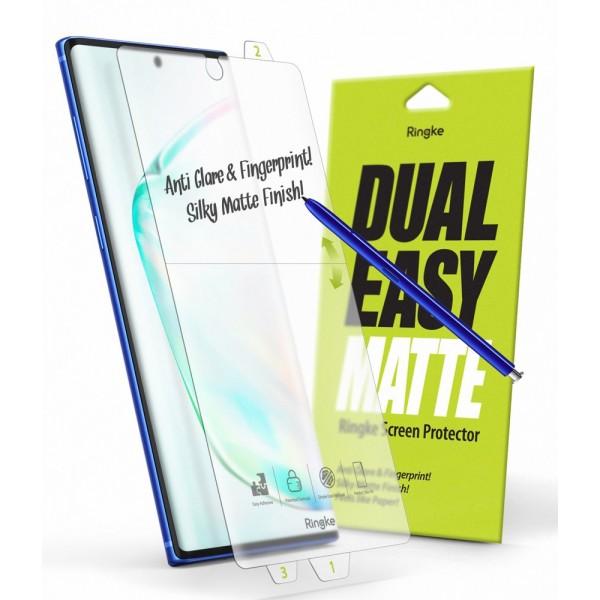 Folie Silicon Premium Full Cover Dual Easy Film Ringke Samsung Galaxy Note 10 Transparenta-2 Bucati In Pachet- Matta imagine itelmobile.ro 2021