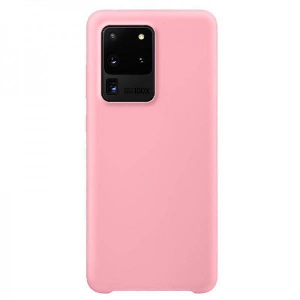 Husa Premium Upzz No Logo Soft Silicon Compatibila Cu Samsung Galaxy S20 Ultra ,invelis Alcantara La Interior ,roz imagine itelmobile.ro 2021