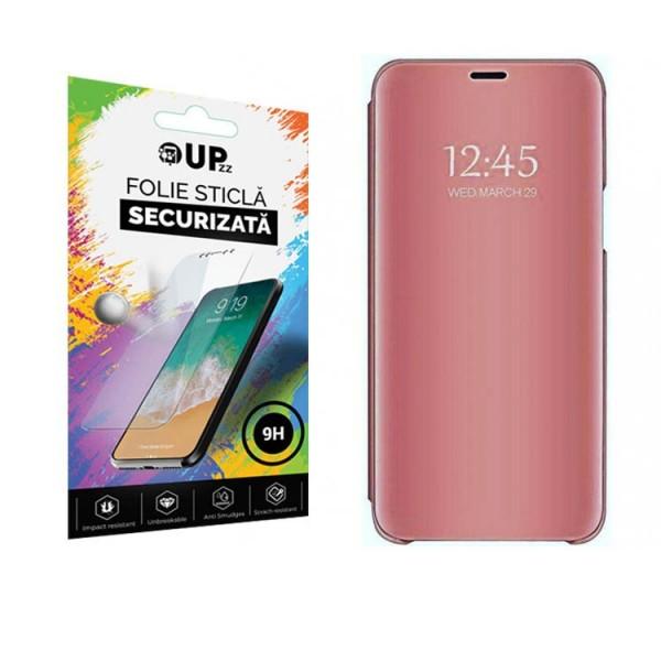 Pachet Upzz Husa Tip Carte Mirror Samsung Galaxy M21, Roz Cu Folie Sticla Upzz Glass Inclusa In Pachet imagine itelmobile.ro 2021