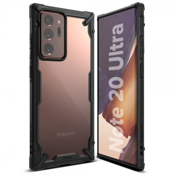 Husa Premium Ringke Fusion X Samsung Galaxy Note 20 Ultra, Negru Transparent, Suport Priza Telefon Cadou imagine itelmobile.ro 2021