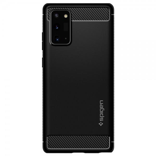 Husa Premium Originala Spigen Rugged Armor Samsung Galaxy Note 20, Negru Silicon imagine itelmobile.ro 2021