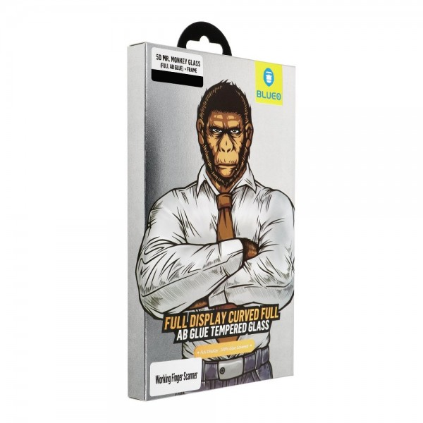 Folie Full Glue Premium Mr. Monkey Full Cover Pentru Samsung Galaxy S10 + Rama Negru imagine itelmobile.ro 2021