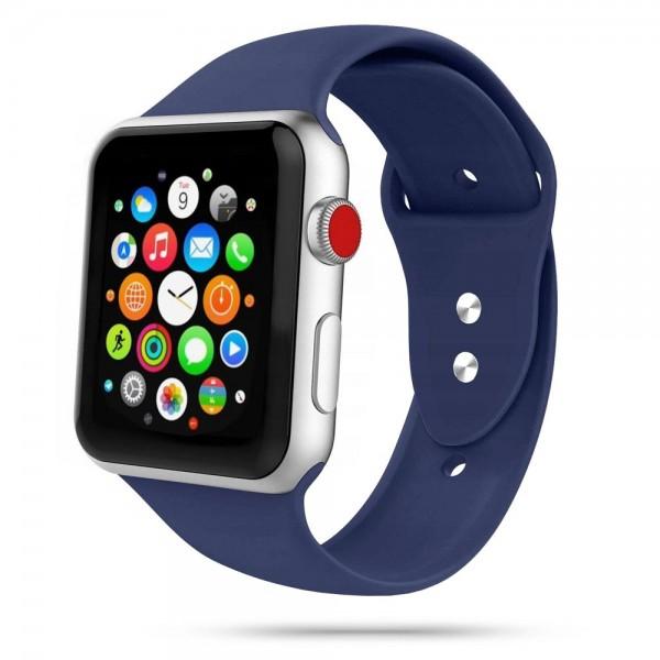Curea Smooth Band Upzz Tech Protect ,compatibila Cu Apple Watch 1/2/3/4/5 (42/44mm), Midnight Blue imagine itelmobile.ro 2021