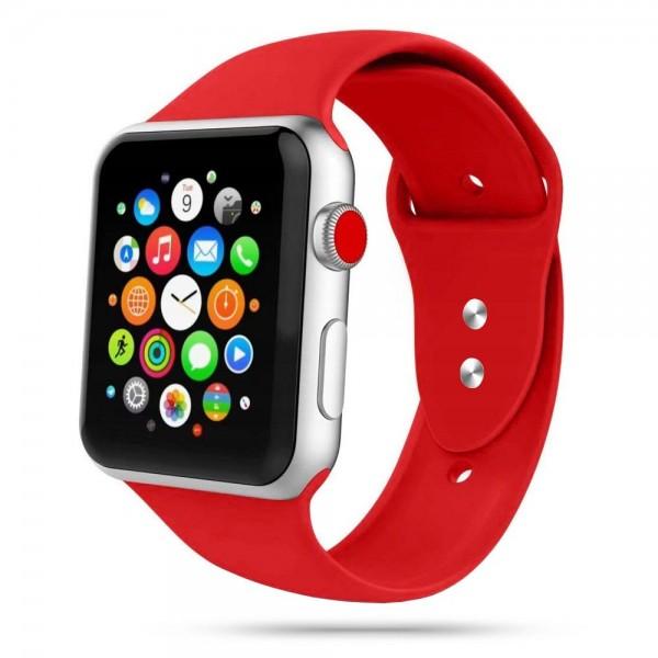 Curea Smooth Band Upzz Tech Protect ,compatibila Cu Apple Watch 1/2/3/4/5 (42/44mm), Rosu imagine itelmobile.ro 2021