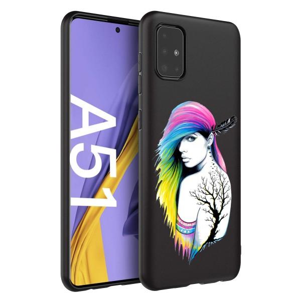 Husa Silicon Soft Upzz Print Candy Compatibila Cu Samsung Galaxy A51, Model Tatoo Girl Negru imagine itelmobile.ro 2021