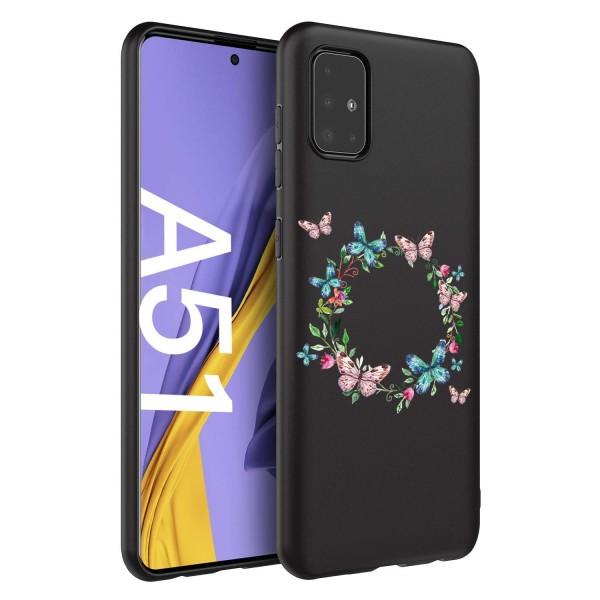 Husa Silicon Soft Upzz Print Candy Compatibila Cu Samsung Galaxy A51, Model Butterflies Circle Negru imagine itelmobile.ro 2021