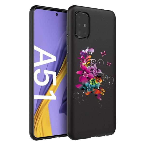 Husa Silicon Soft Upzz Print Candy Compatibila Cu Samsung Galaxy A51, Model Flower Pattern Negru imagine itelmobile.ro 2021