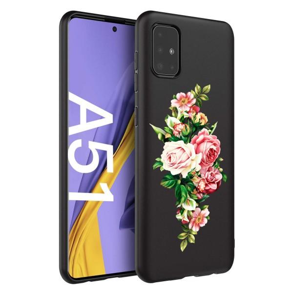 Husa Silicon Soft Upzz Print Candy Compatibila Cu Samsung Galaxy A51, Model Roses Negru imagine itelmobile.ro 2021