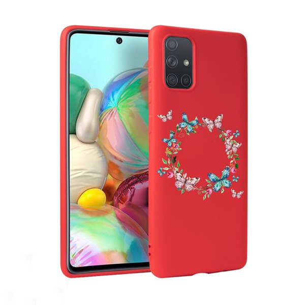 Husa Silicon Soft Upzz Print Candy Compatibila Cu Samsung Galaxy A51, Model Butterflies Circle Rosu imagine itelmobile.ro 2021