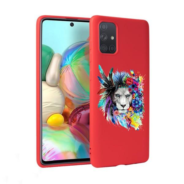 Husa Silicon Soft Upzz Print Candy Compatibila Cu Samsung Galaxy A51, Model Flower Lion Rosu imagine itelmobile.ro 2021