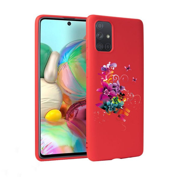 Husa Silicon Soft Upzz Print Candy Compatibila Cu Samsung Galaxy A51, Model Flower Pattern Rosu imagine itelmobile.ro 2021