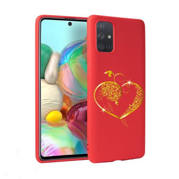 Husa Silicon Soft Upzz Print Candy Compatibila Cu Samsung Galaxy A51, Model Gold Heart Rosu imagine itelmobile.ro 2021