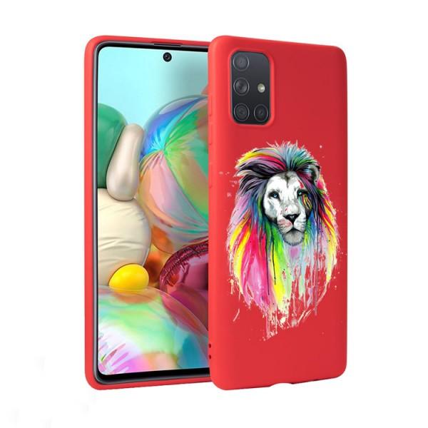 Husa Silicon Soft Upzz Print Candy Compatibila Cu Samsung Galaxy A51, Model Multicolor Lion Rosu imagine itelmobile.ro 2021