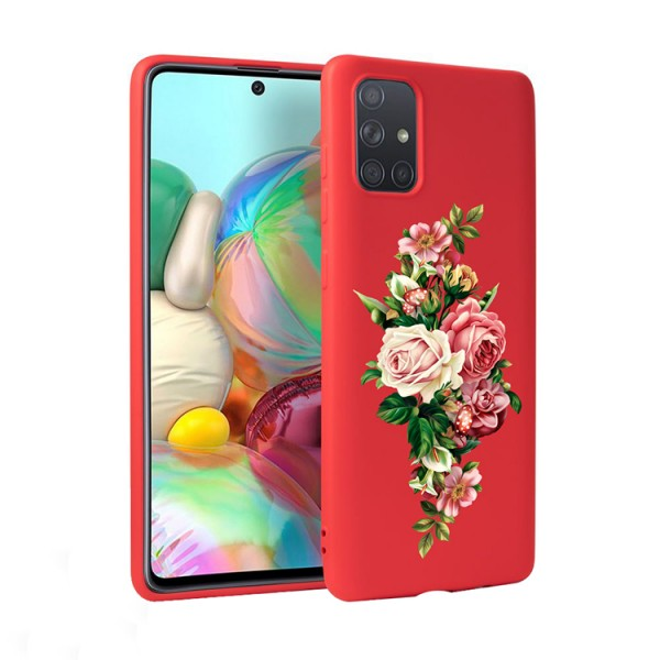 Husa Silicon Soft Upzz Print Candy Compatibila Cu Samsung Galaxy A51, Model Roses Rosu imagine itelmobile.ro 2021