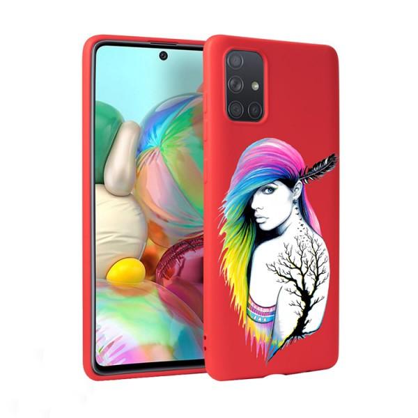 Husa Silicon Soft Upzz Print Candy Compatibila Cu Samsung Galaxy A51, Model Tatoo Girl Rosu imagine itelmobile.ro 2021
