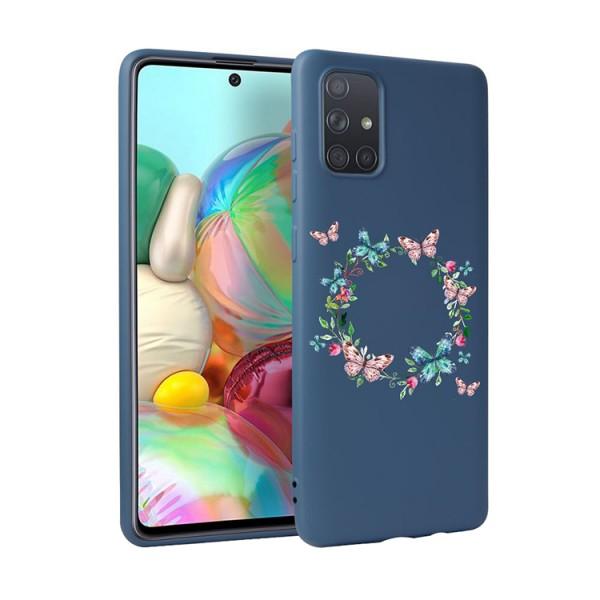Husa Silicon Soft Upzz Print Candy Compatibila Cu Samsung Galaxy A51, Model Butterflies Circle Albastru imagine itelmobile.ro 2021
