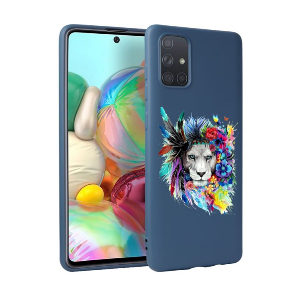 Husa Silicon Soft Upzz Print Candy Compatibila Cu Samsung Galaxy A51, Model Flower Lion Albastru imagine itelmobile.ro 2021