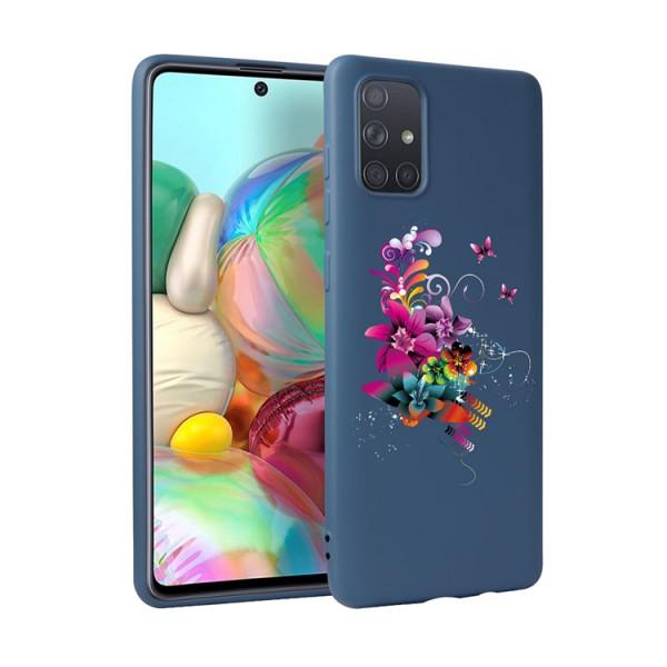Husa Silicon Soft Upzz Print Candy Compatibila Cu Samsung Galaxy A51, Model Flower Pattern Albastru imagine itelmobile.ro 2021