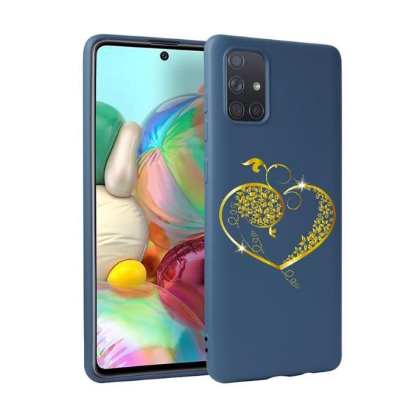 Husa Silicon Soft Upzz Print Candy Compatibila Cu Samsung Galaxy A51, Model Gold Heart Albastru imagine itelmobile.ro 2021