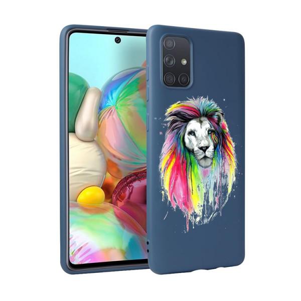 Husa Silicon Soft Upzz Print Candy Compatibila Cu Samsung Galaxy A51, Model Multicolor Lion Albastru imagine itelmobile.ro 2021