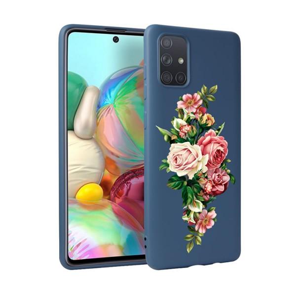 Husa Silicon Soft Upzz Print Candy Compatibila Cu Samsung Galaxy A51, Model Roses Albastru imagine itelmobile.ro 2021