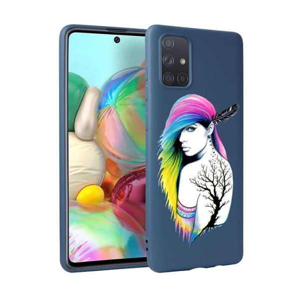 Husa Silicon Soft Upzz Print Candy Compatibila Cu Samsung Galaxy A51, Model Tatoo Girl Albastru imagine itelmobile.ro 2021