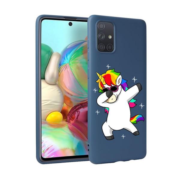 Husa Silicon Soft Upzz Print Candy Compatibila Cu Samsung Galaxy A51, Model Unicorn Albastru imagine itelmobile.ro 2021