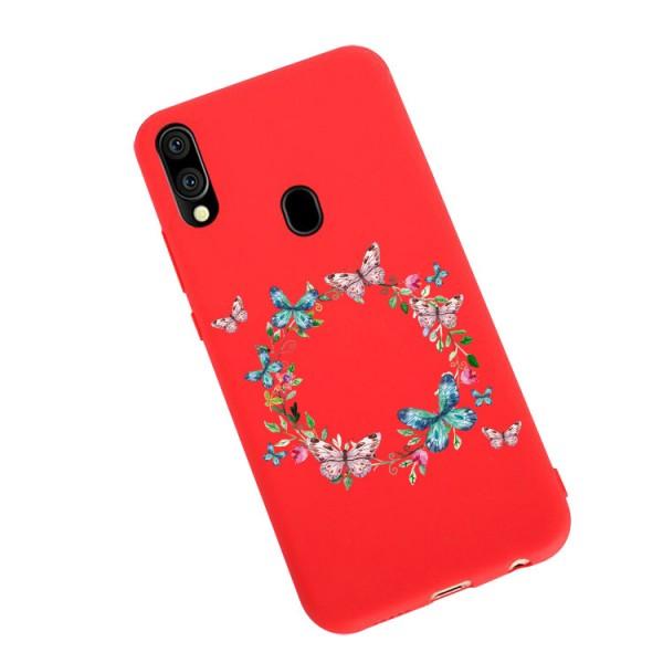 Husa Silicon Soft Upzz Print Candy Compatibila Cu Samsung Galaxy A20e, Model Butterflies Circle Rosu imagine itelmobile.ro 2021
