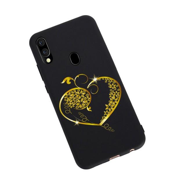 Husa Silicon Soft Upzz Print Candy Compatibila Cu Samsung Galaxy A20e, Model Gold Heart Negru imagine itelmobile.ro 2021