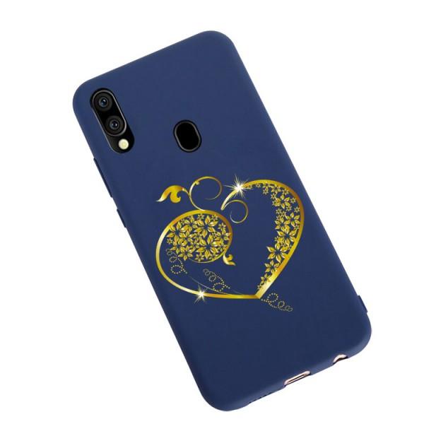 Husa Silicon Soft Upzz Print Candy Compatibila Cu Samsung Galaxy A20e, Model Gold Heart Albastru imagine itelmobile.ro 2021