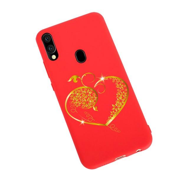 Husa Silicon Soft Upzz Print Candy Compatibila Cu Samsung Galaxy A20e, Model Gold Heart Rosu imagine itelmobile.ro 2021