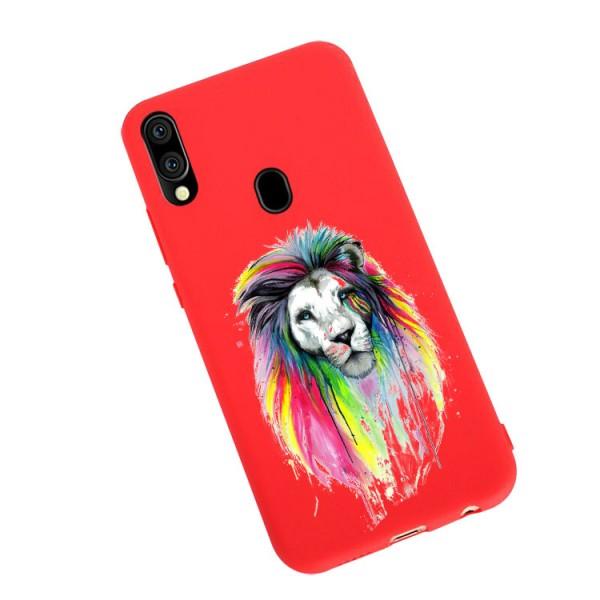 Husa Silicon Soft Upzz Print Candy Compatibila Cu Samsung Galaxy A20e, Model Multicolor Lion Rosu imagine itelmobile.ro 2021