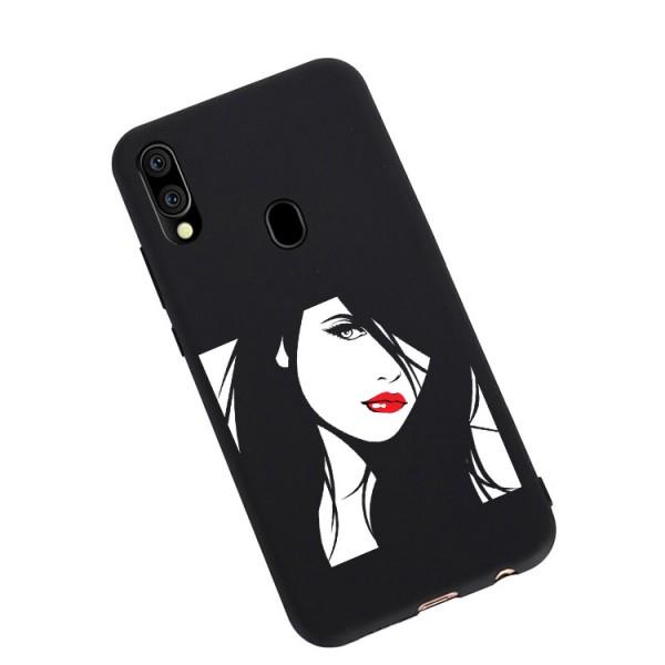 Husa Silicon Soft Upzz Print Candy Compatibila Cu Samsung Galaxy A20e, Model Red Lips Negru imagine itelmobile.ro 2021