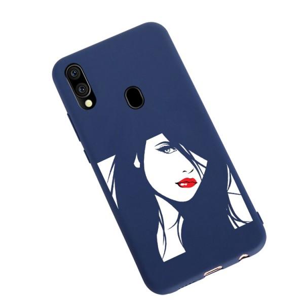 Husa Silicon Soft Upzz Print Candy Compatibila Cu Samsung Galaxy A20e, Model Red Lips Albastru imagine itelmobile.ro 2021
