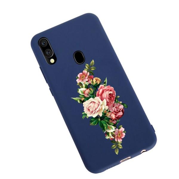 Husa Silicon Soft Upzz Print Candy Compatibila Cu Samsung Galaxy A20e, Model Roses Albastru imagine itelmobile.ro 2021